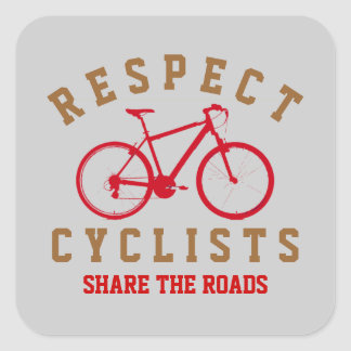 respect bicyclists sport-themed square sticker