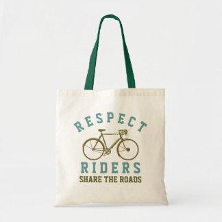 respect bike riders budget tote bag