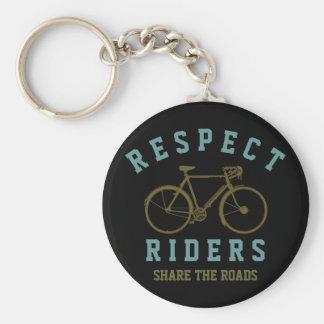 respect bike riders basic round button keychain