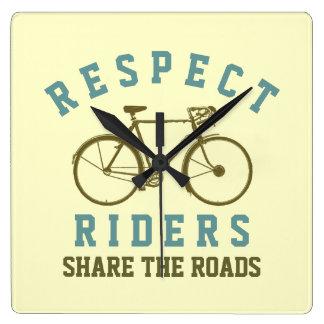 respect bike riders square wall clocks