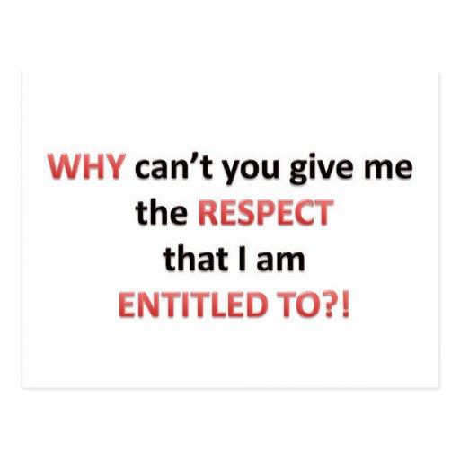 Respect Entitlement Postcards
