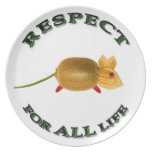 Respect for ALL life mouse - vegetarian Plato Para Fiesta