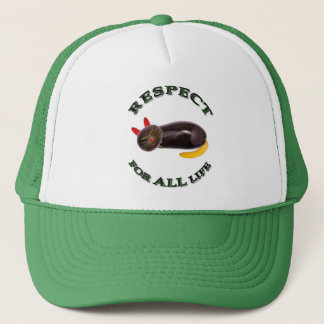 Respect for ALL life - vegetarian cat Trucker Hat