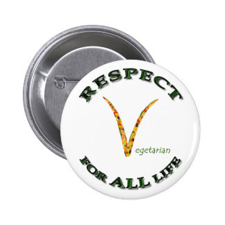 Respect for ALL life - vegetarian logo Pinback Button