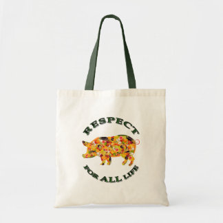 Respect for ALL life - vegetarian pig Canvas Bags