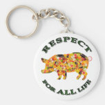 Respect for ALL life - vegetarian pig Key Chain