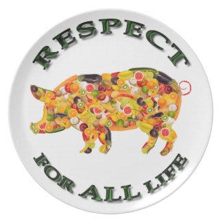 Respect for ALL life - vegetarian pig Plate