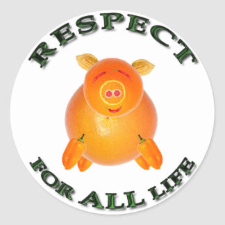 Respect for ALL life - vegetarian piglet Classic Round Sticker