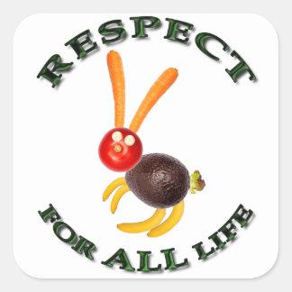 Respect for ALL life - vegetarian rabbit Square Sticker