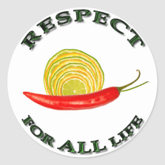 Respect for ALL life - vegetarian snail Classic Round Sticker