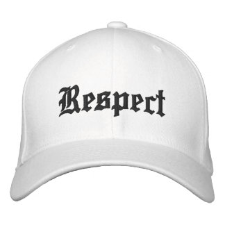 Respect hat in white with black letters. embroidered baseball cap