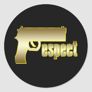 Respect in Gold Classic Round Sticker