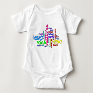 Respect, Kindness, Trust... Virtues word art Baby Bodysuit