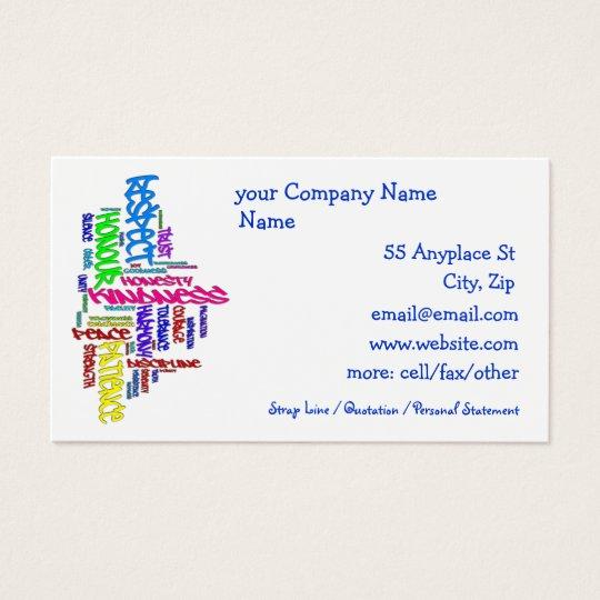 Respect, Kindness, Trust... Virtues word art Business Card