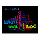 Respect, Kindness, Trust... Virtues word art Post Cards