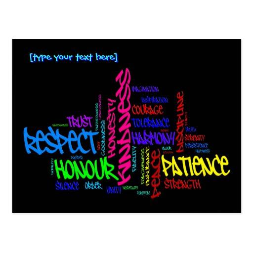 Respect, Kindness, Trust... Virtues word art Postcard | Zazzle