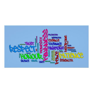 Respect, Kindness, Trust, Virtues word art poster Poster