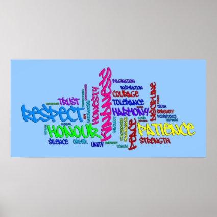 Respect, Kindness, Trust, Virtues word art poster Poster