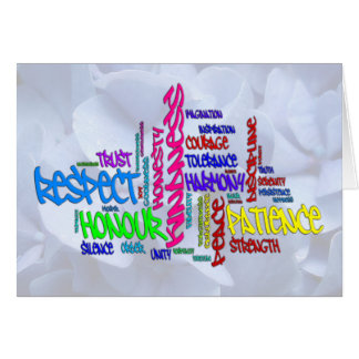 Respect, Kindness, Trust... Virtues word art Stationery Note Card