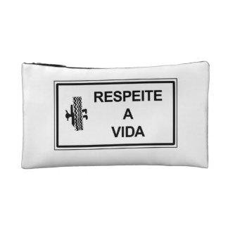 Respect Life, Brazil Traffic Sign Makeup Bags