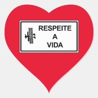 Respect Life, Brazil Traffic Sign Heart Sticker