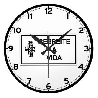 Respect Life, Brazil Traffic Sign Large Clock