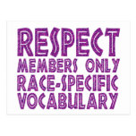 respect members only race specific vocabulary post card