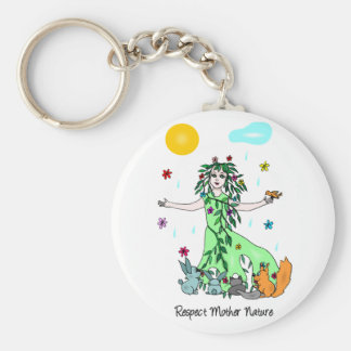 Respect Mother Nature Basic Round Button Keychain
