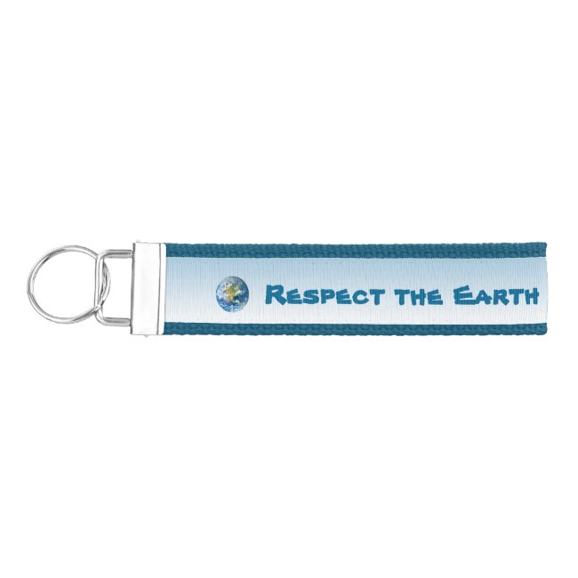 Respect Planet Earth Blue Wrist Keychain