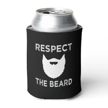 worksaheart Respect the Beard funny mens shirt Can Cooler