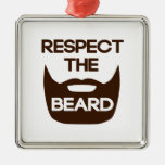 Respect The Beard Square Metal Christmas Ornament