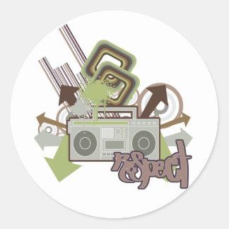 Respect the Beat Boom Box Classic Round Sticker