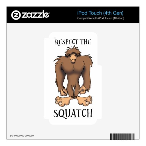 RESPECT THE SQUATCH DECAL FOR iPod TOUCH 4G