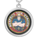 Respect the 'Stache Police Officer Round Pendant Necklace