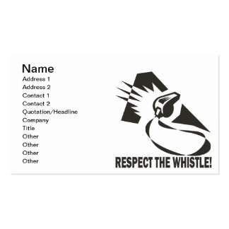 Respect The Whistle Business Card Template
