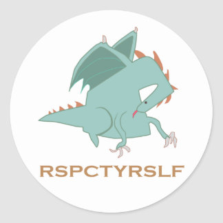 RESPECT YOURSELF Motivational Dragon Series Classic Round Sticker