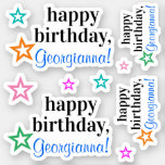 "[ Thumbnail: Respectable ""Happy Birthday"" + Star Outline Shape Sticker ]"