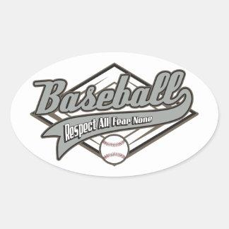 Respecto del béisbol pegatina ovalada