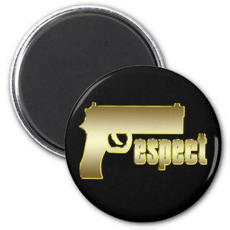 Respecto en oro imán redondo 5 cm