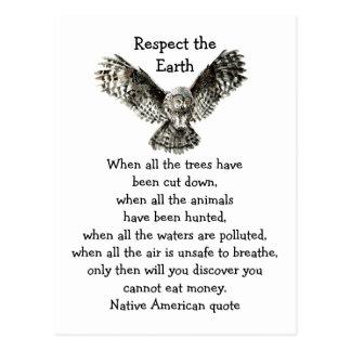 Respecto llamativo del búho el nativo americano de postal