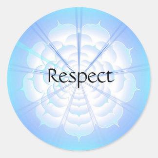 Respecto (pegatina de la virtud) pegatina redonda