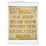 Respecto por creencias tarjeton