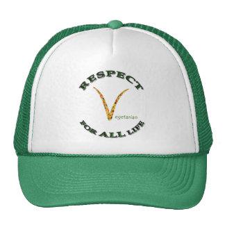 Respecto por TODA LA vida - logotipo vegetariano Gorras