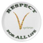 Respecto por TODA LA vida - logotipo vegetariano Platos