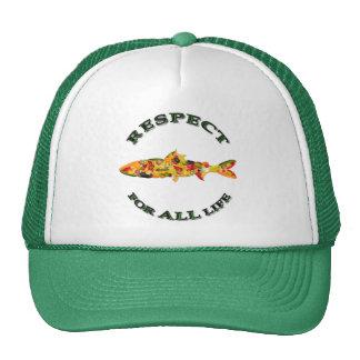 Respecto por TODA LA vida - pescado vegetariano Gorros Bordados