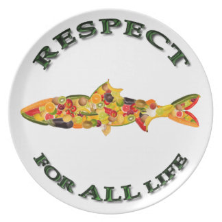 Respecto por TODA LA vida - pescado vegetariano Plato Para Fiesta