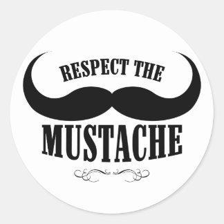 Respete a los pegatinas del bigote $9,95 (20 pegatina redonda