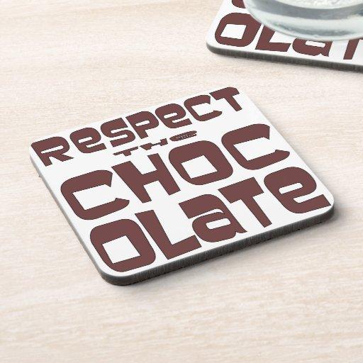 Respete el chocolate posavasos de bebida