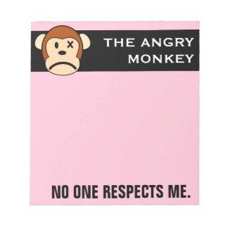 Respete el mono enojado o haga frente a su cólera bloc de notas