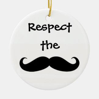 Respete el ornamento del bigote adorno navideño redondo de cerámica